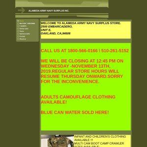 Alameda Army Navy Surplus website screenshot