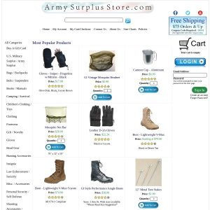 Army Surplus Store website screenshot