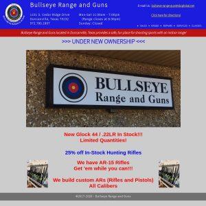Bullseye Range & Guns website screenshot