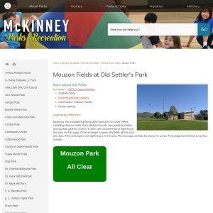Mouzon Ball Fields at Old Settlers website screenshot