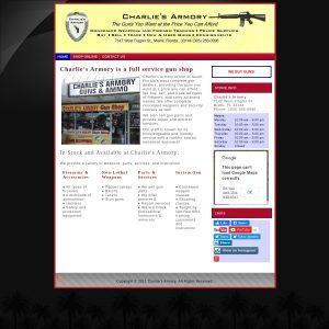 Charlie's Armory website screenshot