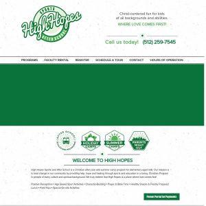 High Hopes Sports And After School website screenshot