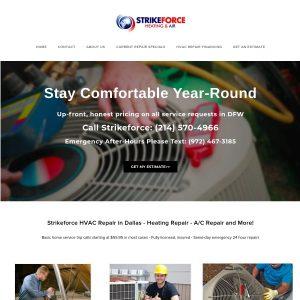 Strike Force Heating & Air LLC website screenshot