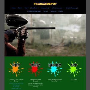 Paintball Depot website screenshot