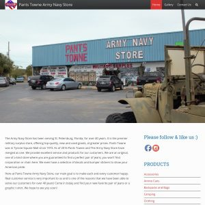 Pants Towne Army Navy Store website screenshot