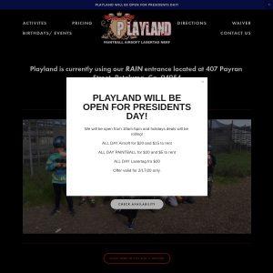 Playland website screenshot