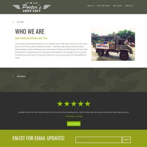 Porter's Army & Navy Store website screenshot
