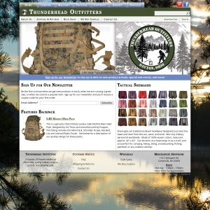 Thunderhead Outfitters website screenshot