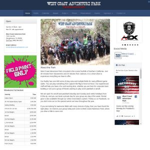 West Coast Adventure Park website screenshot